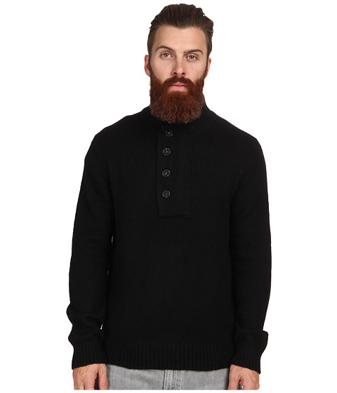 French Connection - Rustic Wool Revisited Sweater (Black) Men's Long Sleeve Pullover