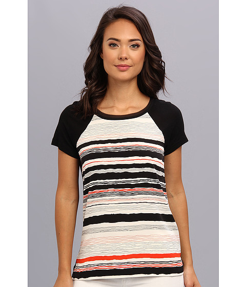 NYDJ - Bon Fire Stripe Print Top (Multi) Women's Short Sleeve Pullover