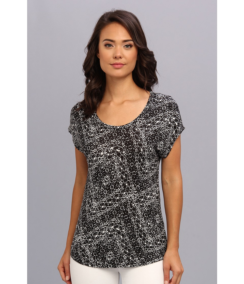 NYDJ - Mosaic Animal Print Tee (Black/White) Women's Short Sleeve Pullover