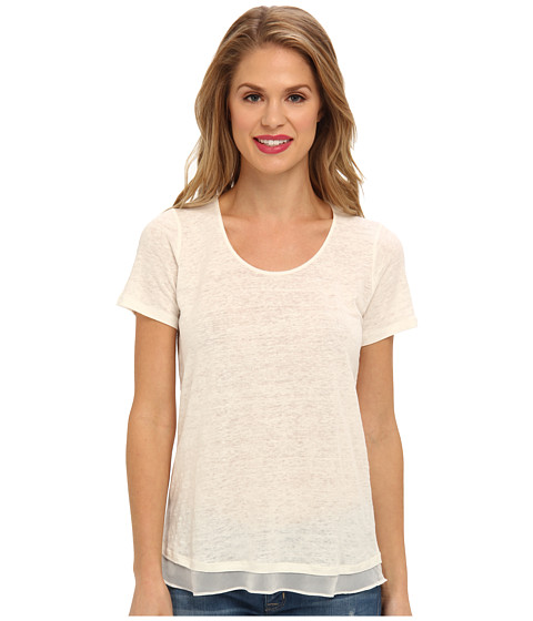 NYDJ - Double Layer Mixed Media Tee (Parchment) Women's T Shirt