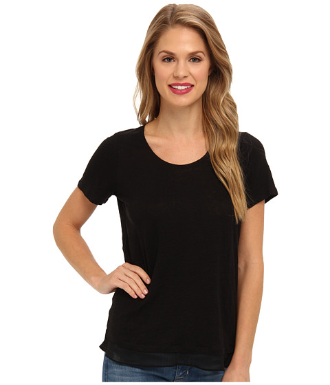 NYDJ - Double Layer Mixed Media Tee (Black) Women