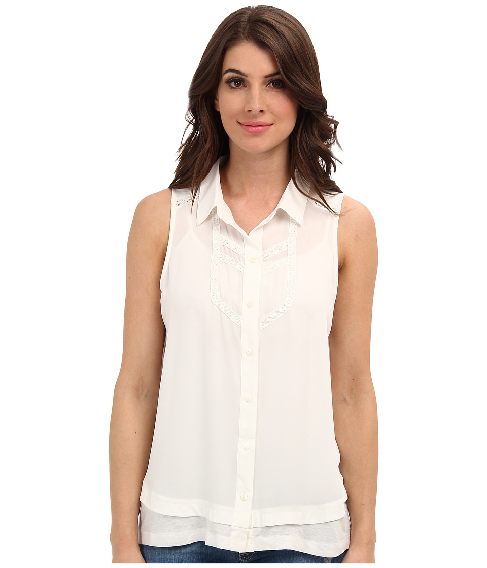 NYDJ - Lace Detail Sleeveless Blouse (Parchment) Women