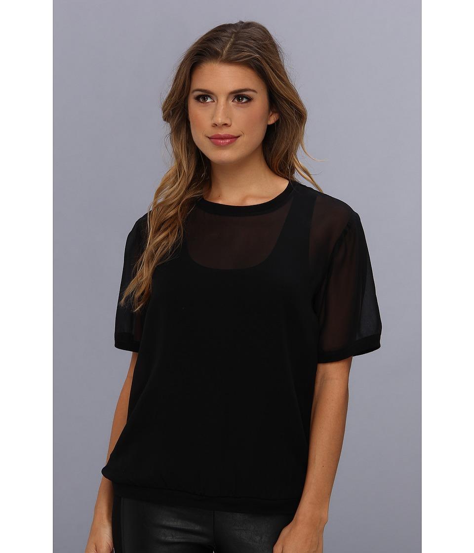 BCBGMAXAZRIA - Aja Jersey Tank With Chiffon T-Shirt Overlay (Black) Women