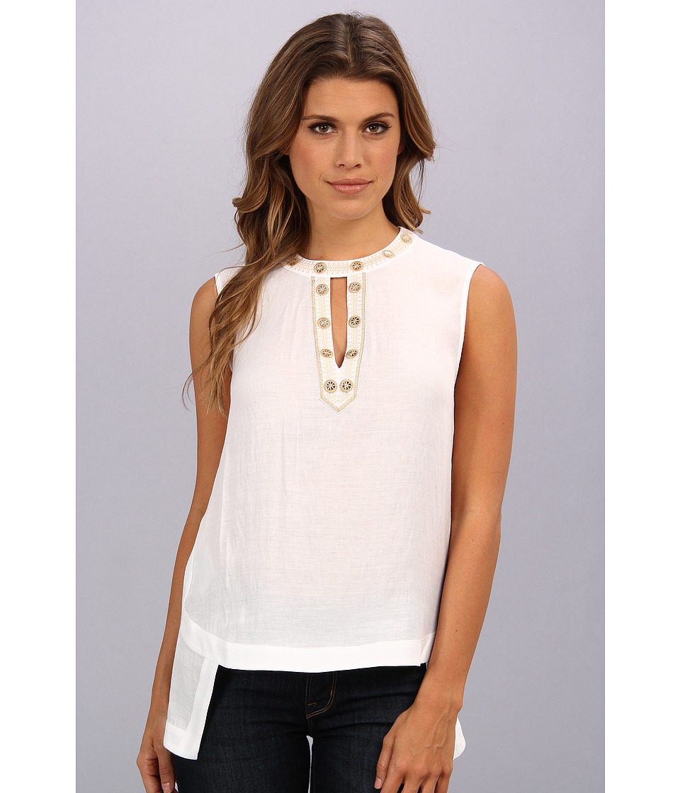 BCBGMAXAZRIA - Shirley Embellsihed Sleeveless Top (White) Women's Blouse