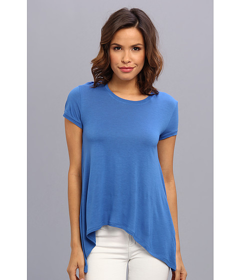 BCBGMAXAZRIA - Mya T-Shirt With Draped Open Back (Larkspur Blue) Women