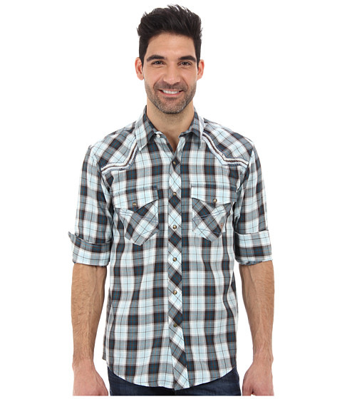 Ariat - Echo Snap Plaid Snap (Blue Slate/Multi) Men's Long Sleeve Button Up