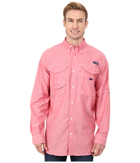 Columbia - Super Bonehead Classic Long Sleeve Shirt (Sunset Red Oxford) Men
