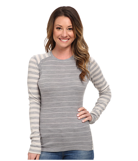 Smartwool - Midweight Pattern Crew Neck Top (Silver Gray Heather/Natural) Women's Long Sleeve Pullover