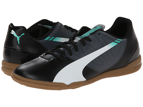 Puma Kids - evoSPEED 5.3 IT JR (Little Kid/Big Kid) (Black/White/Turbulence/Pool Green) Kids Shoes