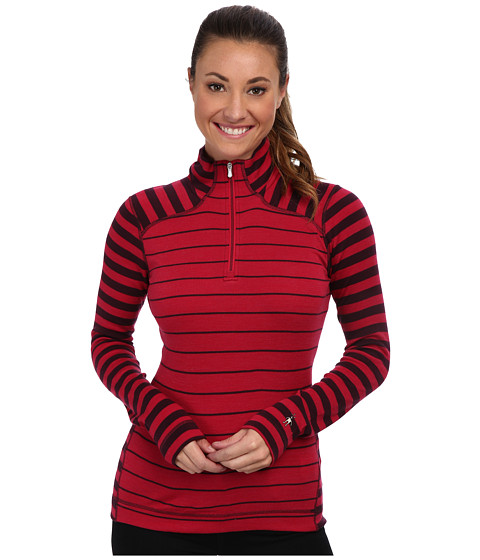 Smartwool - Midweight Pattern Zip T-Neck Top (Persian Red Heather) Women