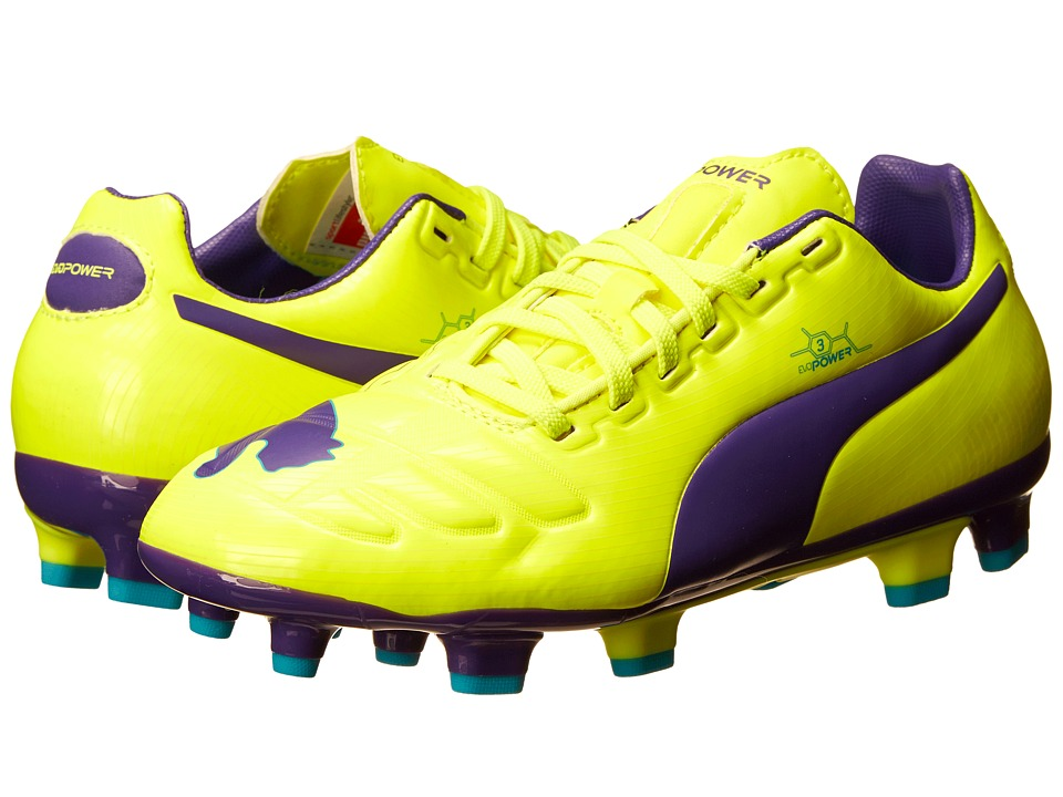 Puma Kids - evoPower 3 FG Jr (Little Kid/Big Kid) (Fluro Yellow/Prism Violet/Scuba Blue) Kids Shoes