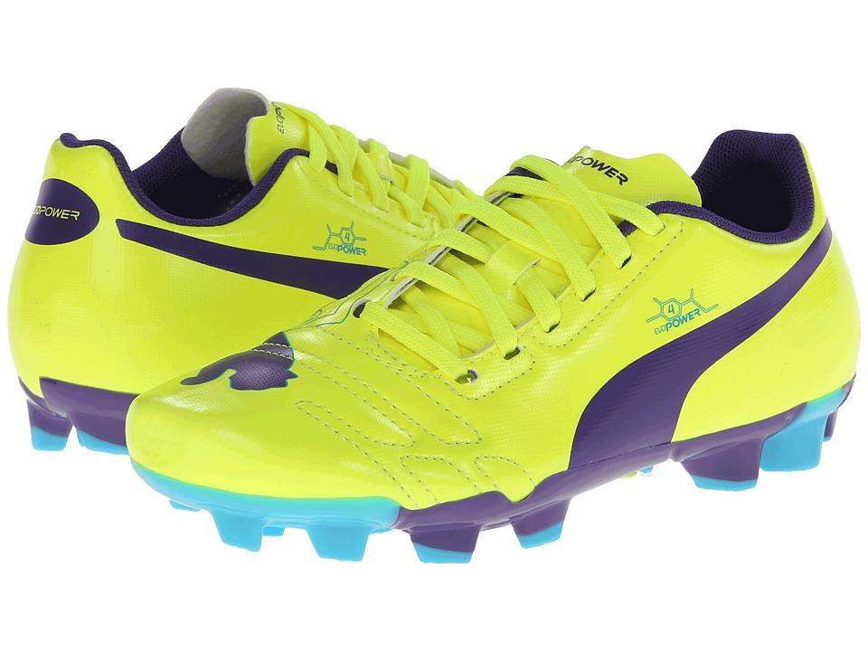 Puma Kids - evoPOWER 4 FG Jr (Little Kid/Big Kid) (Fluro Yellow/Prism Violet/Scuba Blue) Kids Shoes