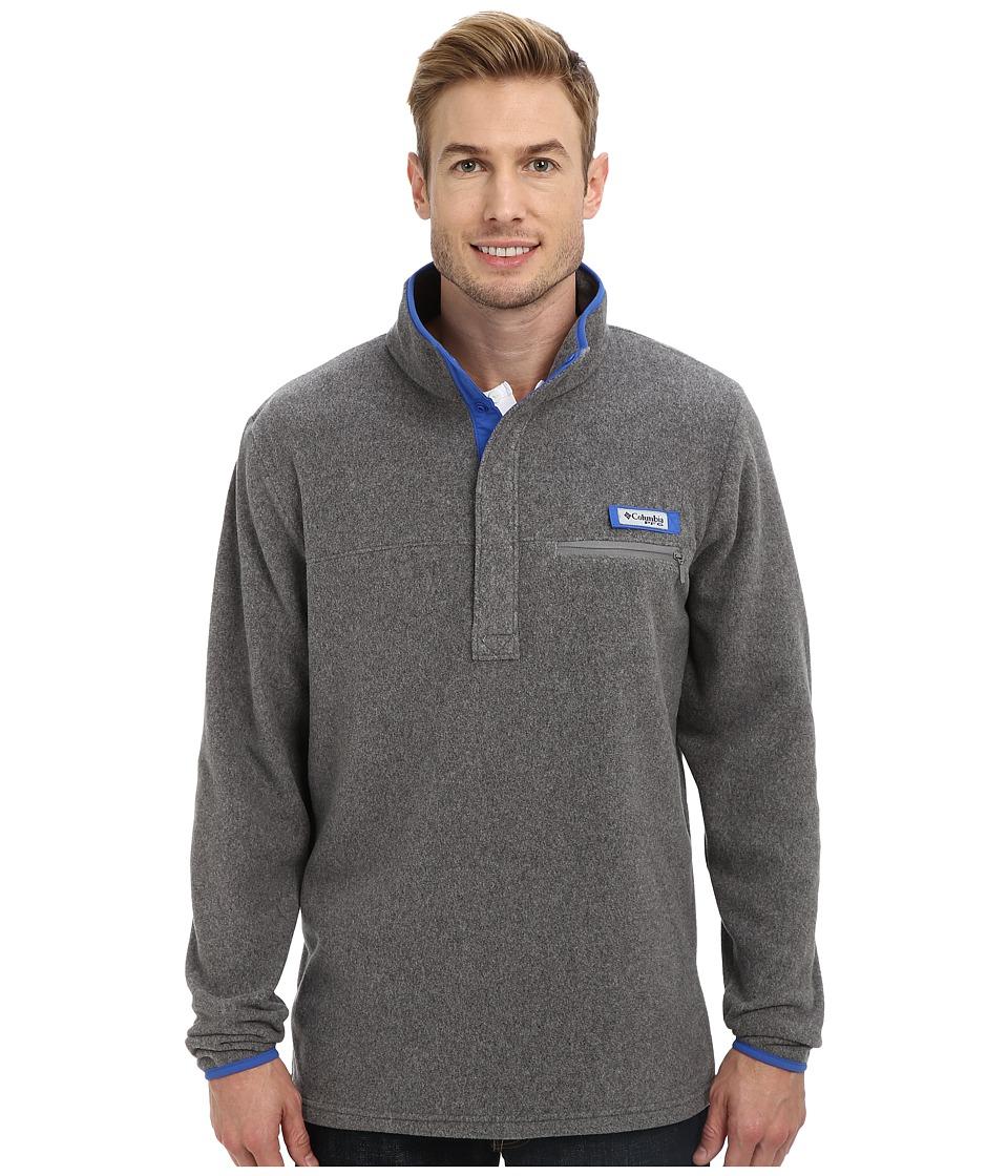 Columbia - Harborside Fleece Pullover (Cool Grey/Vivid Blue) Men's Long Sleeve Pullover