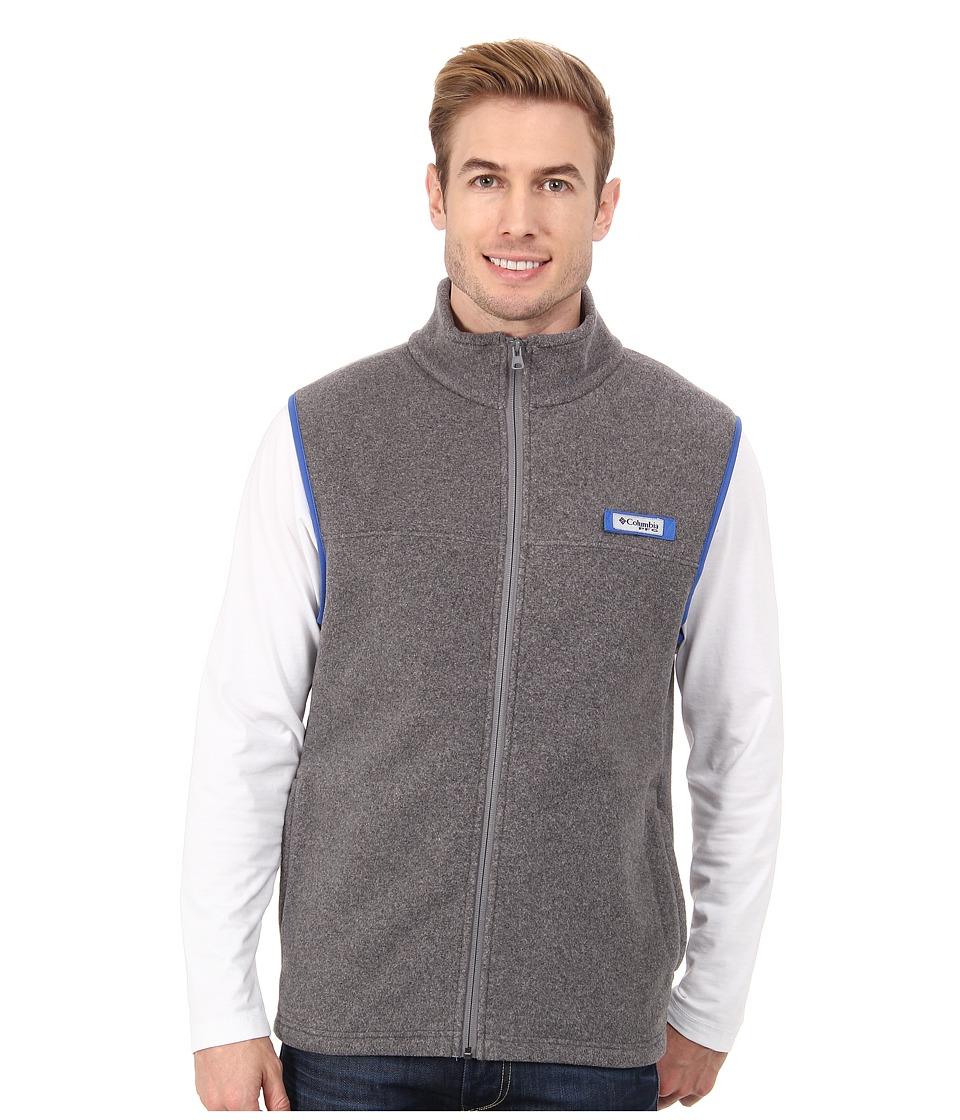 Columbia - Harborside Fleece Vest (Cool Grey Heather/Vivid Blue) Men's Coat