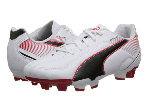 Puma Kids - Esquadra FG JR (Little Kid/Big Kid) (White/Black/High Risk Red) Kids Shoes