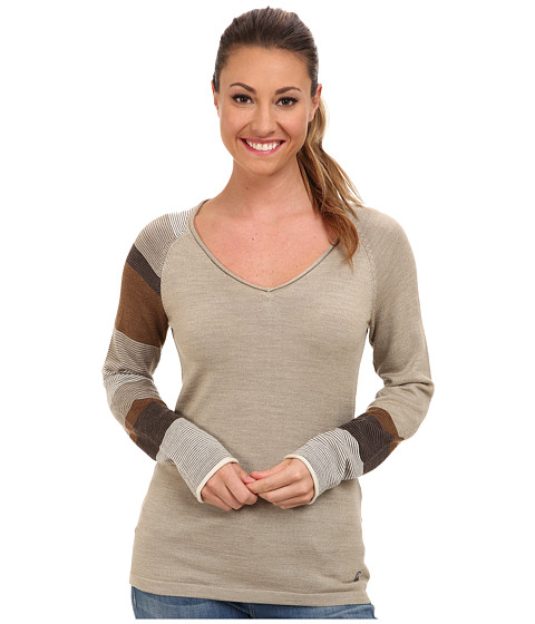 Smartwool - Scrolling Stripe V-Neck (Oatmeal Heather) Women's Long Sleeve Pullover