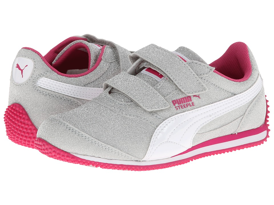 Puma Kids - Steeple Glitz AOG V (Toddler/Little Kid/Big Kid) (Puma Silver/White/Fuchsia Purple) Girls Shoes
