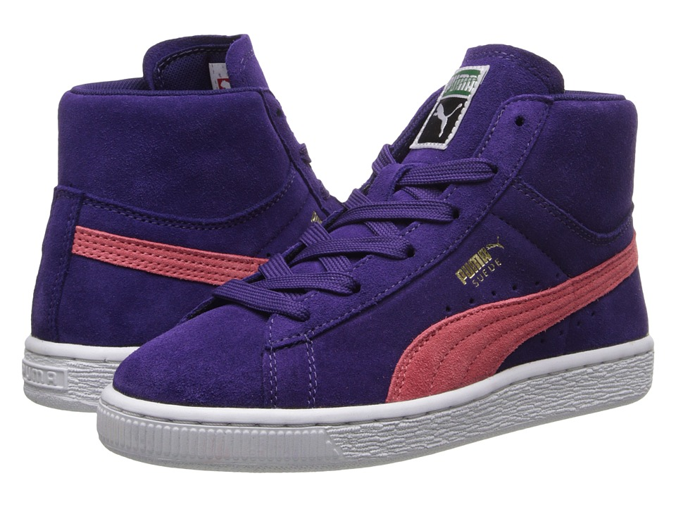 Puma Kids - Suede Classic Mid Jr (Little Kid/Big Kid) (Parachute Purple/Dubarry/Team Gold) Girls Shoes