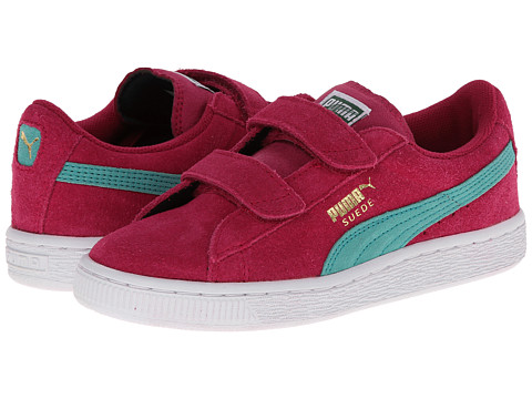 Puma Kids - Suede 2 Straps (Toddler/Little Kid/Big Kid) (Cerise/Pool Green/Team Gold) Girls Shoes