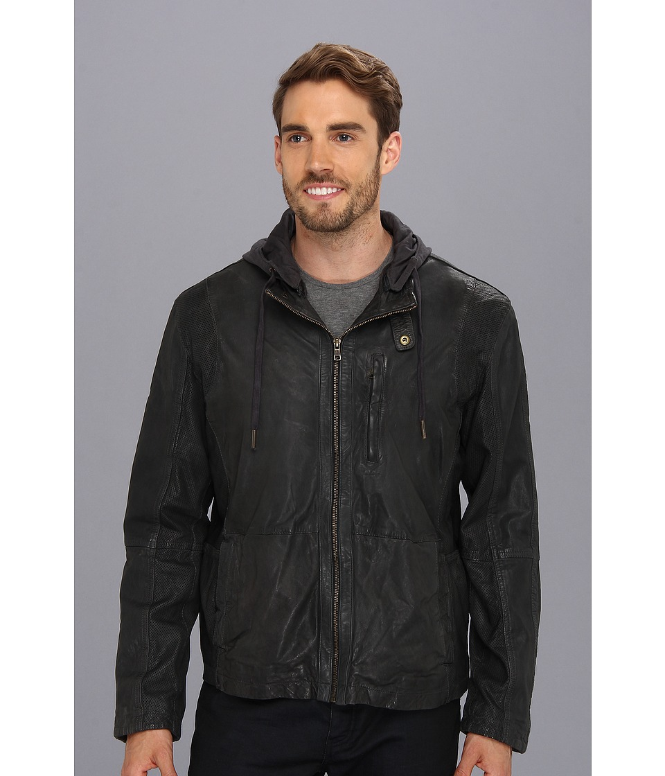 Cole Haan - Perforated Lambskin Moto Jacket (Steel/Stealth Gray/Stealth Gray) Men's Coat