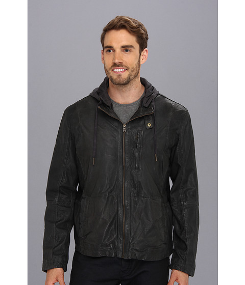 Cole Haan - Perforated Lambskin Moto Jacket (Steel/Stealth Gray/Stealth Gray) Men