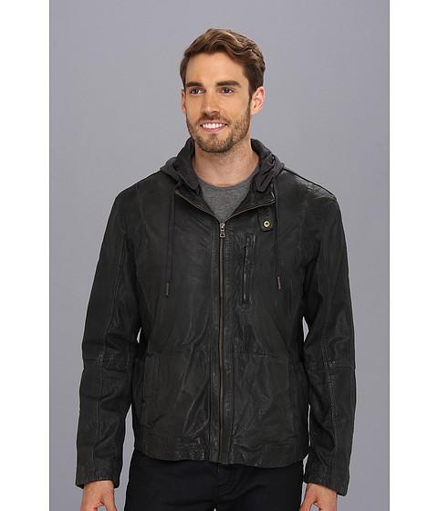 Cole Haan - Perforated Lambskin Moto Jacket (Steel/Stealth Gray/Stealth Gray) Men's Coat