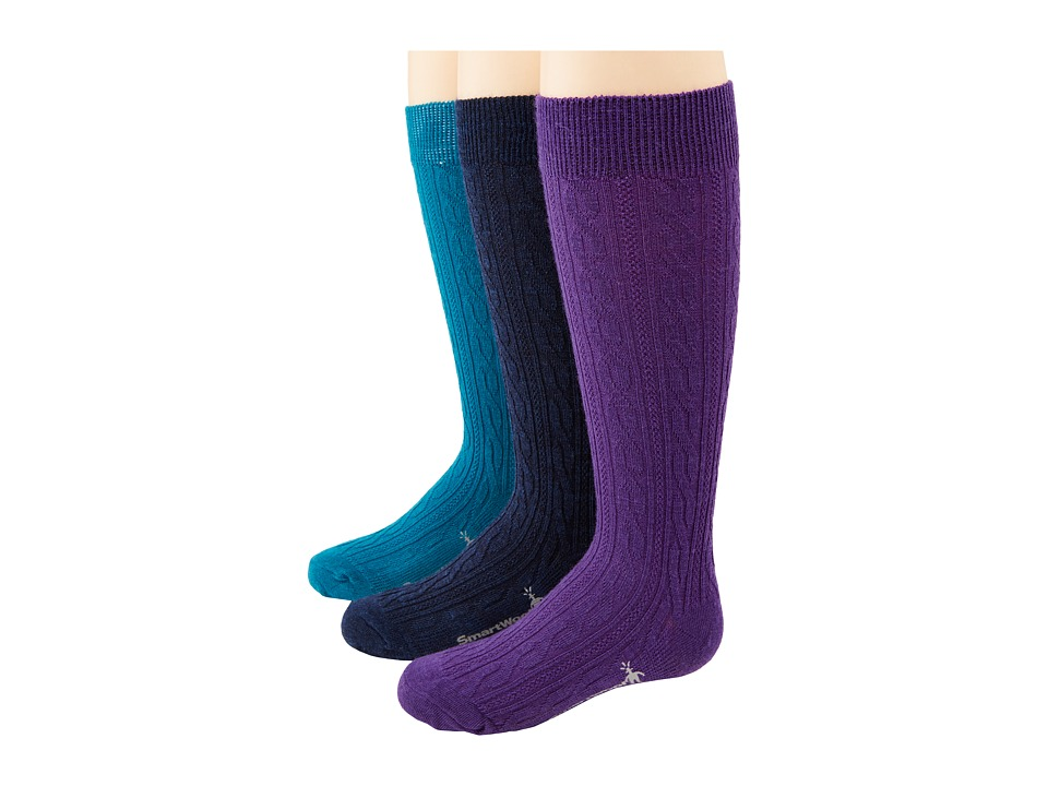 Smartwool - Cable Kneehigh (Teal/Navy/Grape) Crew Cut Socks Shoes