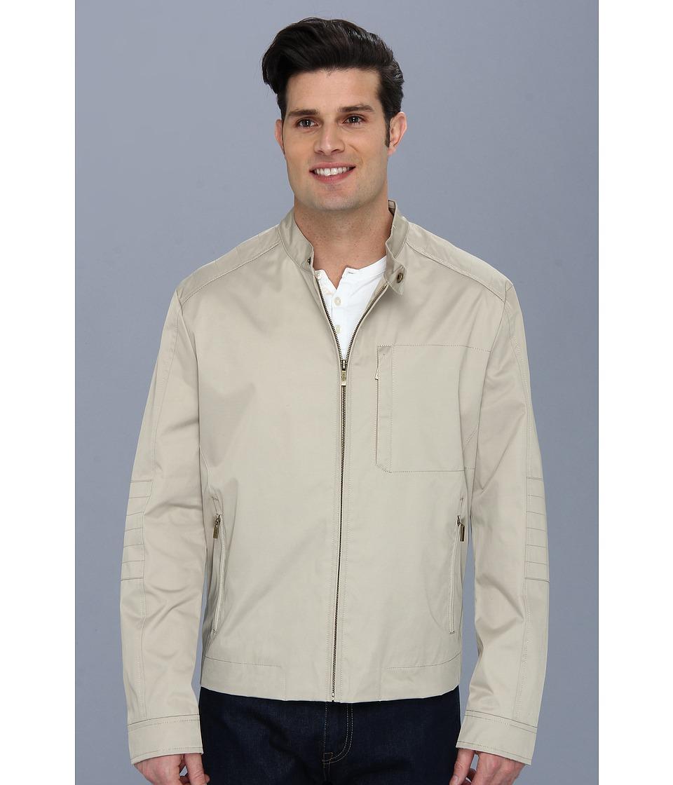 Cole Haan - Coated Cotton Moto Jacket w/ Stitch Details (Sand) Men's Coat