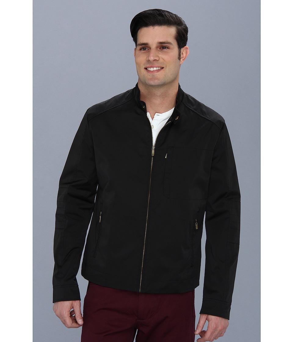 Cole Haan - Coated Cotton Moto Jacket w/ Stitch Details (Black) Men's Coat