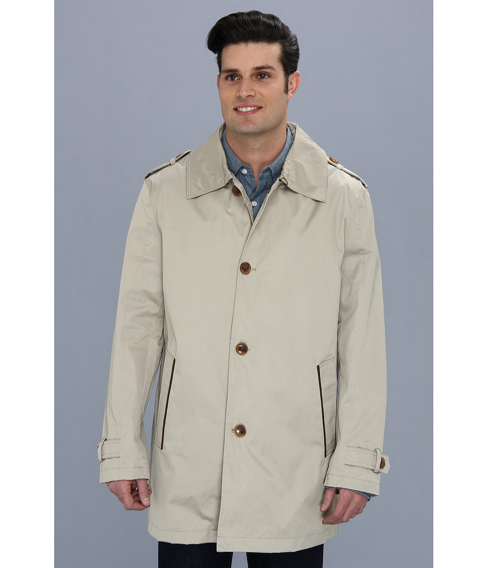 Cole Haan - Coated Cotton Topper (Sand) Men's Coat