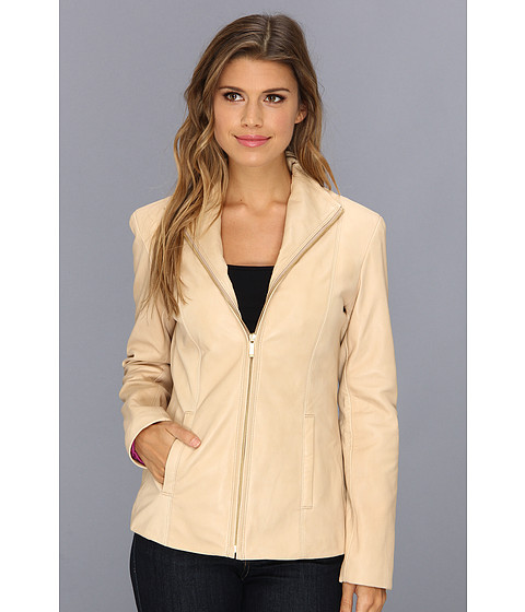 Cole Haan - Single Breasted Wing Collar Leather Jacket With In-Seam Pockets A Lizard-Embossed Lapel (Sand) Women's Jacket