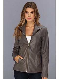 SALE! $381.99 - Save $313 on Cole Haan Single Breasted Wing Collar Leather Jacket With In Seam Pockets A Lizard Embossed Lapel (Anthracite) Apparel - 45.04% OFF $695.00