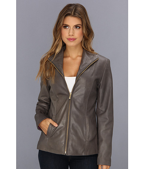 Cole Haan - Single Breasted Wing Collar Leather Jacket With In-Seam Pockets A Lizard-Embossed Lapel (Anthracite) Women