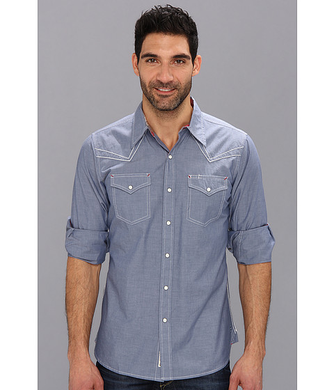 Stetson - Solid Chambray 9074 (Blue) Men's Long Sleeve Button Up