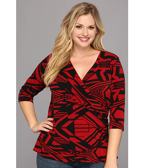 Karen Kane Plus - Plus Size Infrared Graphic Wrap Top (Print) Women's Blouse
