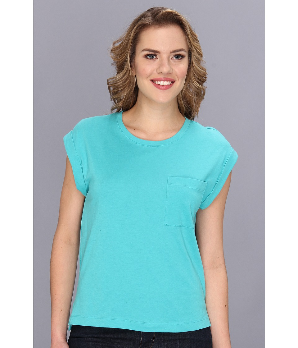 BCBGeneration - Rolled Sleeve Slit Tee (Aloe) Women's Short Sleeve Pullover