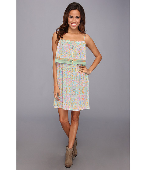Stetson - 8972 Mosaic Mirror Border Print Dress (Green) Women's Dress