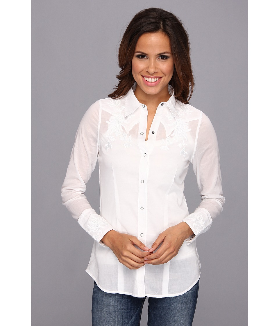 Stetson - 8973 White Voile Long Sleeve Shirt (White) Women's Clothing