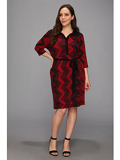 SALE! $66.99 - Save $79 on Karen Kane Plus Plus Size 3 4 Sleeve Dress w Belt (Red Black) Apparel - 54.12% OFF $146.00