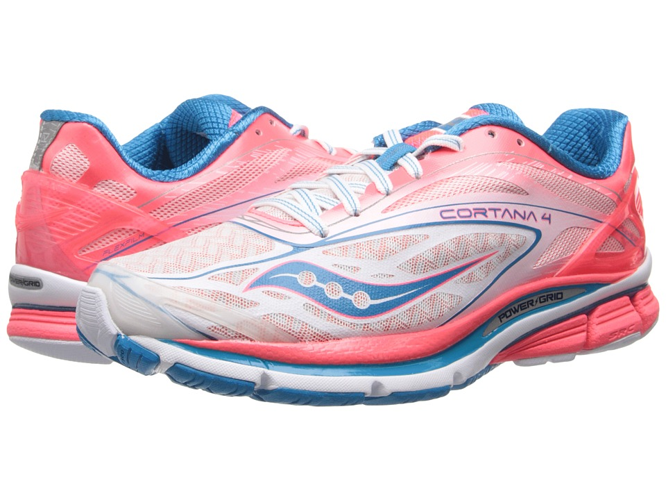 Saucony - Cortana 4 (White/Pink/Blue) Women's Running Shoes
