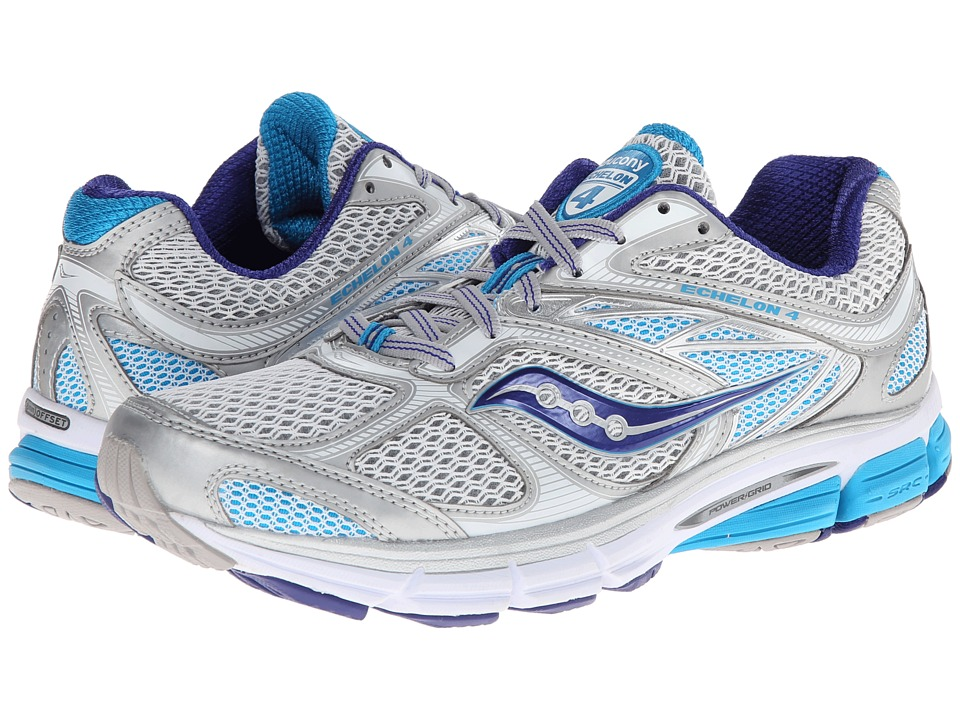 Saucony - Echelon 4 (Silver/Blue) Women's Running Shoes