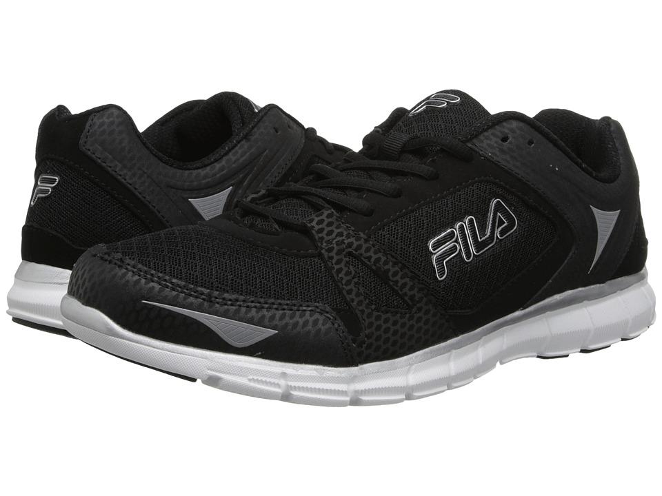 Fila - Memory Synergy (Black/White/Metallic Silver) Men's Running Shoes