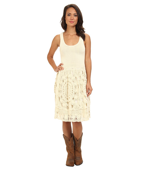 Stetson - Cream Crochet Dress w/ Knit Lining (White) Women's Dress