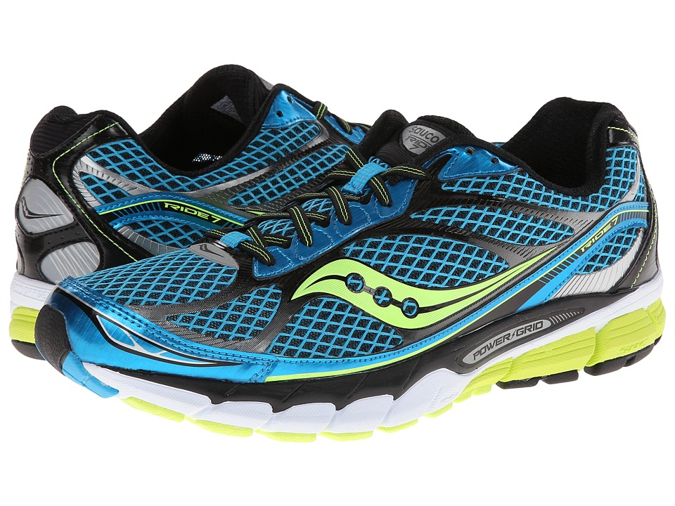 Saucony - Ride 7 (Blue/Black/Citron) Men's Running Shoes