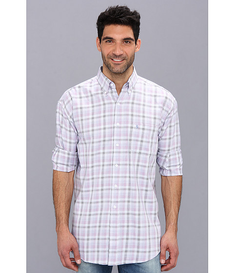 Stetson - Fancy Satin Plaid Lilac 9029 (Purple) Men's Long Sleeve Button Up