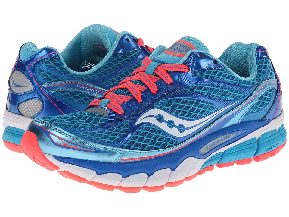 Saucony - Ride 7 (Blue/Vizi Coral) Women's Running Shoes