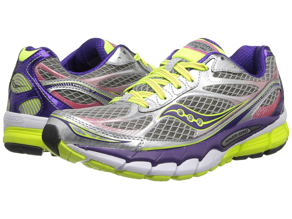 Saucony - Ride 7 (Silver/Purple/Red) Women's Running Shoes
