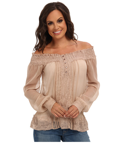 Roper - 9150 Chiffon Peasant Blouse (CS BL5652) (Brown) Women's Blouse