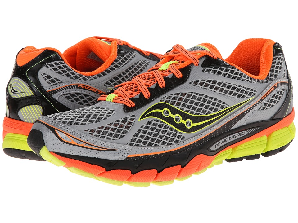 Saucony - Ride 7 Vizi Glo (Silver/Vizi Orange/Citron) Men's Running Shoes