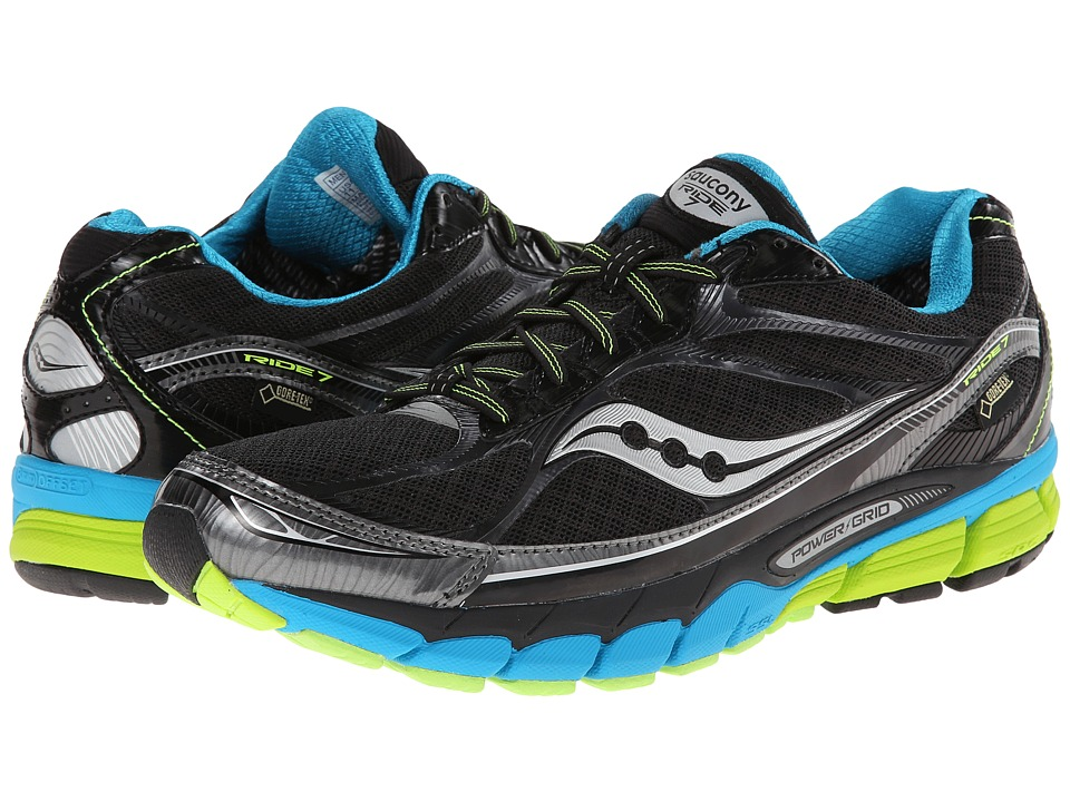 Saucony - Ride 7 GTX (Black/Blue/Citron) Men's Running Shoes